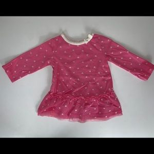 Pink heart patterned shirt size 0-3M lace detail